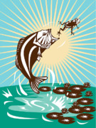 Amphibian Posters - Largemouth Bass Jumping Catching Frog  Poster by Aloysius Patrimonio
