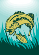 Underwater Digital Art Prints - Largemouth Bass Preying On Perch Fish Print by Aloysius Patrimonio