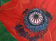 Flower Center Paintings - Larger Poppy Center by Betty-Anne McDonald