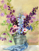 Still-life With Flowers Posters - Larkspur Poster by Ethel Vrana