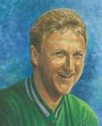 Basketball Mixed Media Prints - Larry Bird Print by Robert Casilla