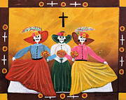 Sisters Mixed Media Framed Prints - Las Catrinas Framed Print by Sonia Flores Ruiz