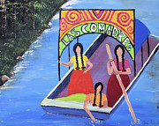 Sisters Mixed Media Framed Prints - Las Comadres en Xochimilco Framed Print by Sonia Flores Ruiz