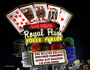 Retro Posters - Las Vegas Royal Flush Poster by Anthony Ross