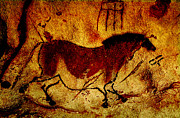 Prehistoric Mixed Media - Lascaux Horse by Asok Mukhopadhyay