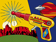 Toys Metal Prints - Laser Gun Metal Print by Ron Magnes