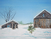 Old Barn Paintings - Last Barn In Winter by Anthony Ross