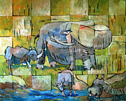 Hippopotamus Art - Last Big Game by Charlie Spear