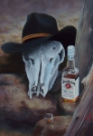 Cow Pastels Posters - Last Chance Saloon or Jim Beams Guardian Spirit Poster by Marcus Moller