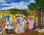 Gullah Art Framed Prints - Last Cotton Field Framed Print by Diane Britton Dunham