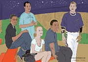 Baseball Portraits Drawings Posters - Last Game of the Season 2011 Poster by Susie Morrison