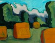 Hay Bales Paintings - Last Haying by Charlie Spear