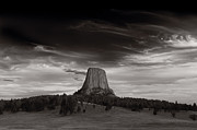 Rock Formation Photos - Last Light On Devils Tower BW by Steve Gadomski