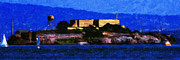 Boat Digital Art Framed Prints - Last Light Over Alcatraz . Panorama Cut Framed Print by Wingsdomain Art and Photography
