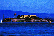 Boat Digital Art Framed Prints - Last Light Over Alcatraz Framed Print by Wingsdomain Art and Photography