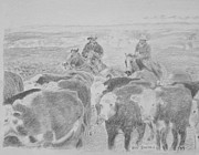Ranching Drawings - Last ones In by Bud  Barnes