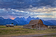 Mountains Photographs Posters - Last rays of sunlight at Grand Teton National Park Poster by Matt Suess