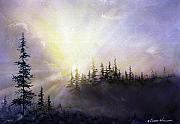Sun Rays Painting Posters - Last Rays Sunset Poster by Connie Williams