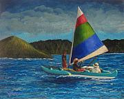Canoe Painting Posters - Last Sail Before the Storm Poster by Laurie Morgan