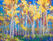 Autumn Trees Painting Prints - Last Stand Print by Talya Johnson