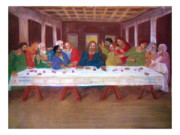 Isus Framed Prints - Last supper Framed Print by Lela Ramic