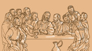 Catholic Digital Art Framed Prints - last supper of Jesus Christ Framed Print by Aloysius Patrimonio