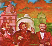 Acrylics On Canvas Paintings - Last Three Mexican Generals by Dean Gleisberg