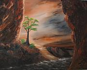 Slot Canyon Painting Framed Prints - Last Tree In Zions Canyon Framed Print by John Johnson