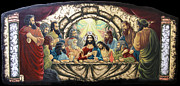 Byzantine Mixed Media Metal Prints - Lasy Supper Metal Print by Iosif Ioan Chezan