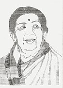 Manual Drawings Framed Prints - Lata Mangeshkar - Nightingale of Indian Music Framed Print by Uday Talwalkar