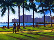 Oahu Painting Framed Prints - Late Afternoon - Queens Surf Framed Print by Douglas Simonson