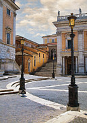 Cobble Stones Posters - Late Afternoon in Rome Poster by Sharon Foster