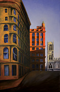 Brick Buildings Painting Framed Prints - Late Afternoon Sun Framed Print by Duane Gordon