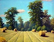 Bales Paintings - Late August Hay by Rick Hansen