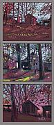 Barns Drawings Prints - Late Autumn Barns Triptych Print by Donald Maier