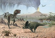 Pterodactyl Prints - Late Cretaceous Life, Artwork Print by Richard Bizley