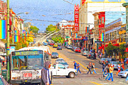 Big Cities Digital Art Prints - Late Morning Early Autumn In The Castro In San Francisco Print by Wingsdomain Art and Photography