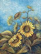 Valerie Meotti Art - Late Sunflowers  by Valerie Meotti