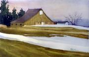 Snow Drifts Painting Posters - Late Winter Melt Poster by Donald Maier