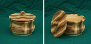 Signed Sculpture Prints - Lathe Turned WiggleWood Stash Box  Print by Mike Burton