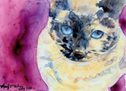 Tortie Paintings - Latte by Andy  Mathis