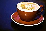 Coffee Mug Digital Art Prints - Latte Art Print by Barb Pearson