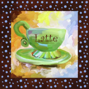 Java Paintings - Latte Coffee Cup With Blue Dots by Jai Johnson