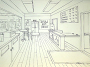 One Point Perspective Art - Latte For Work by Heidi Copeman
