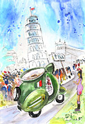 Humour Drawings Prints - Latte Macchiato in Pisa Print by Miki De Goodaboom