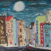 Lamp Post Drawings Prints - Latte Moon and Turquoise Sky Print by Mary Carol Williams