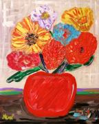 Outsider Art Paintings - Lattice and Red Vase by Mary Carol Williams