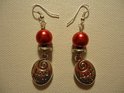 Laugh Jewelry Metal Prints - Laugh Often Love Much Red Earrings Metal Print by Jenna Green