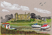 Great Britain Drawings - Laugharne Castle 2 by Lynn Blake-John