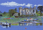 Great Britain Drawings - Laugharne Castle  by Lynn Blake-John